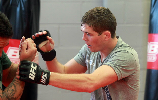 Ultimate Fighting Championship welterweight Jordan Mein of Lethbridge spars with his father Lee Tuesday April 9, 2013 at Champion's Creed Gym in Calgary. The 23 year old UFC fighter will be taking on Mike Brown April 20 in San Jose. He has won 9 of his last 10 fights including three straight. (Ted RhodesCalgary Herald)