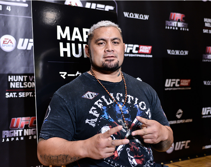 Mark Hunt interacts with media during the UFC Ultimate Media Day at the Hilton Tokyo on September 17, 2014 in Tokyo, Japan. (Photo by Keith Tsuji/Zuffa LLC/Zuffa LLC via Getty Images)