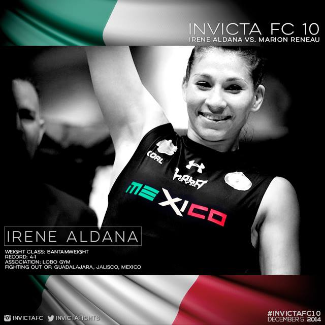 MMA Crossfire  – Bronchitis forces Mexico's Irene Aldana out of Invicta FC 10 bout With Marion Reneau