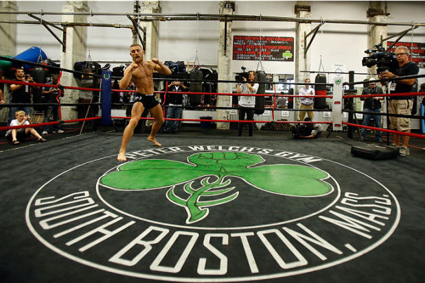 Irish featherweight Conor McGregor holds an open training session in a file photo. (Photo by Josh Hedges/Zuffa LLC/Zuffa LLC via Getty Images)